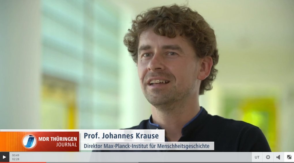 Thüringer Forscher auf den Spuren der Lepra - (Thuringian researchers retrace the history of lepra) The MDR Thüringen Journal interviewed Johannes Krause about his research on the lepra epidemic (2 min.) The video is accessible for one more week in the MDR-Mediathek