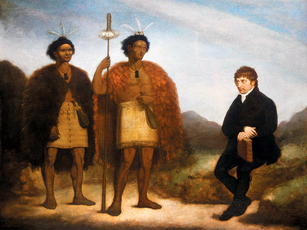 The chiefs Waikato and Hongi Hika with missionary Thomas Kendall, Oil on canvas by James Barry, 1820. National Library of New Zealand Te Puna Mātauranga o Aotearoa, Alexander Turnbull Library, Wellington (Ref:G-618)