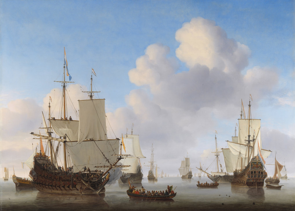 Dutch men-o'-war and other shipping in a calm. Von Willem van de Velde der Jüngere, c. 1665.