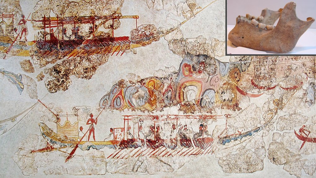 "Minoan style fresco from Akrotiri on Thera, dating to ca. 1500 BC. Whether the term ""Minoan"", introduced by Arthur Evans at the beginning of the 20th century to name the first palatial civilizations on Crete, should be used in genomics to name a genetic cluster, is a matter of debate."