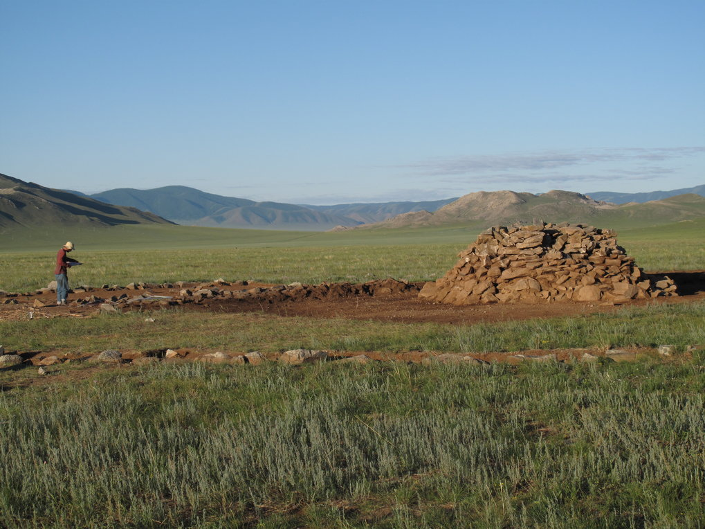 Late Bronze Age burial mounds known as khirigsuurs are associated with early pastoralists in Mongolia.