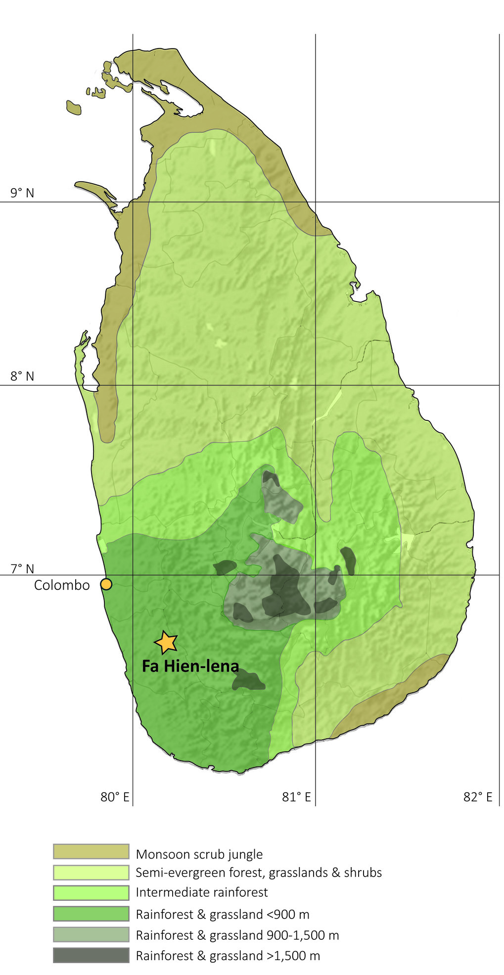 Map of Sri Lanka, showing the location of Fa-Hien Lena and the country's vegetation zones.