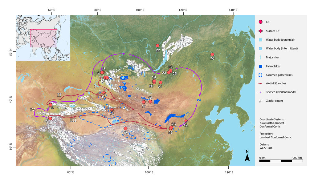 "Illustrated dispersal routes from the results of the Least Cost Path analysis. The three routes from the ""wet"" simulations and the single route from the ""dry"" simulation are presented together in conjunction with palaeoclimatic extents (glaciers and palaeolakes)."