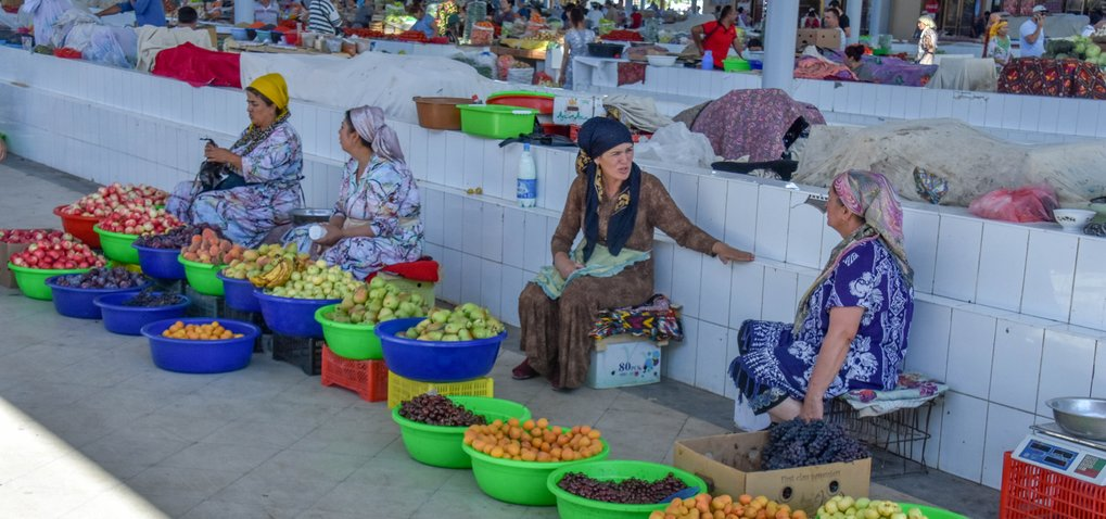 Uzbek and Tajik women selling their fruit at the market bazaar in Bukhara, Uzbekistan. Many of these varieties of fruits have been sold in markets here for thousands of years. The prehistoric origins of these fruits and their historical dispersals are laid out in Fruit from the Sands.