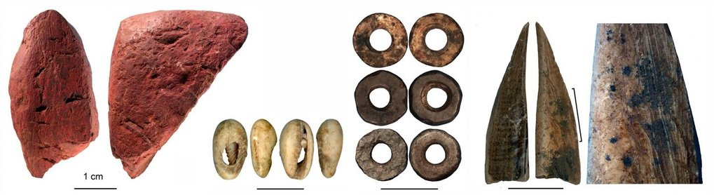 Worked artifacts from Panga ya Saidi cave (from left to right): worked red ochre; bead made of a sea shell; ostrich eggshell beads; bone tool; close-up of the bone tool showing traces of scraping.