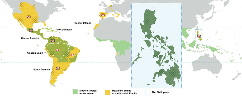 Map of the Spanish Empire around 1800 relative to the modern extent of tropical forests including a zoomed in view of the Philippine Archipelago.