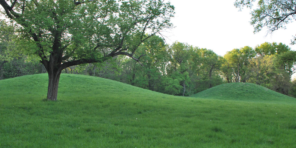 Twin mounds at the Cahokia archaeological site, the largest proto-urban center in North America prior to European contact. Researchers from the MPI for the Science of Human History are studying the processes that led to this extreme form of landscape modification.