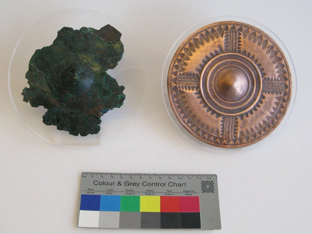 Original (left) and reconstructed (right) ornamented copper disc from a high-status female burial from the site of Kleinaitingen