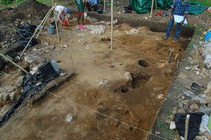 Excavation at the archaeological cemetery of Teouma on Efate Island, Vanuatu