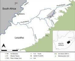 Map of Lesotho with the sites of Ha Makotoko and Ntloana Tsana sampled by Roberts et al. 2013