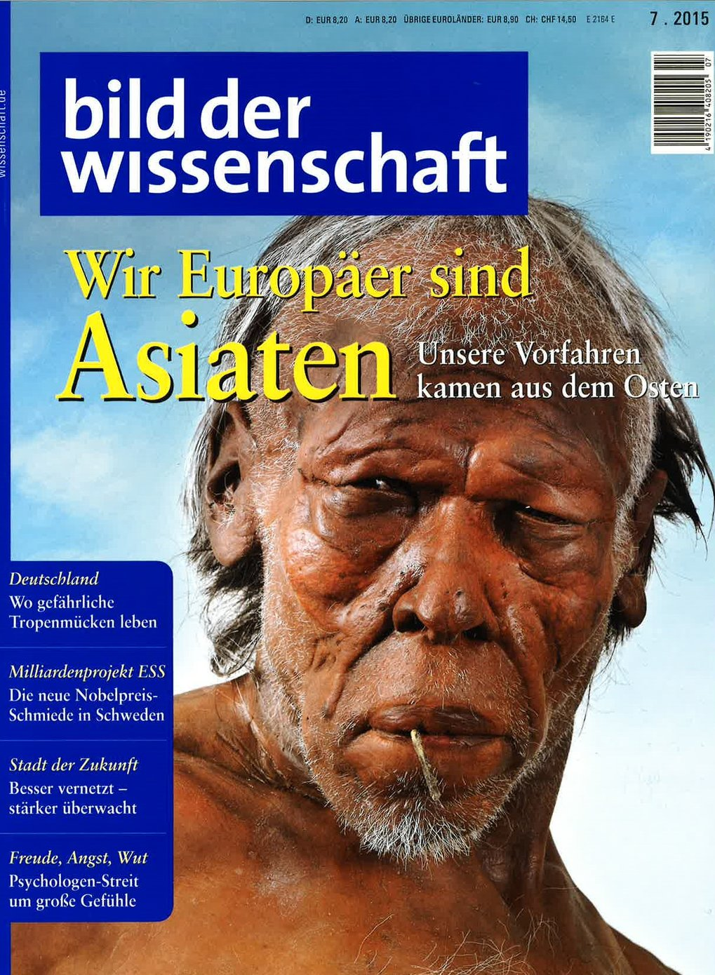 Article about the latest findings of Wolfgang Haak and Johannes Krause, Dept. of Archaeogenetics, among others, on the genetic makeup of Europeans (in German).Bild der Wissenschaft, No. 7/2015