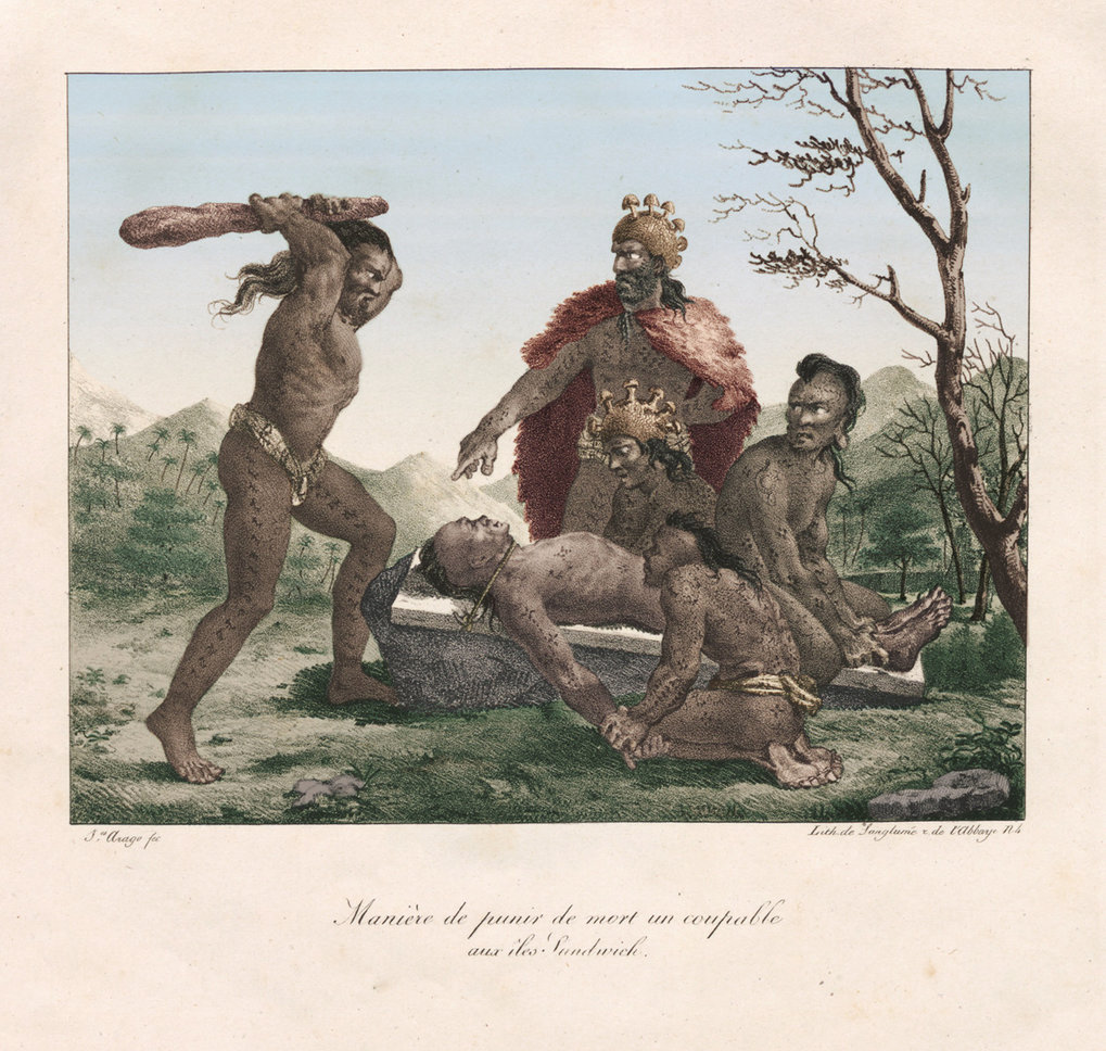 Execution of a human victim. Drawn by Jacques Arago, 1819. Colourised by Joseph Watts.