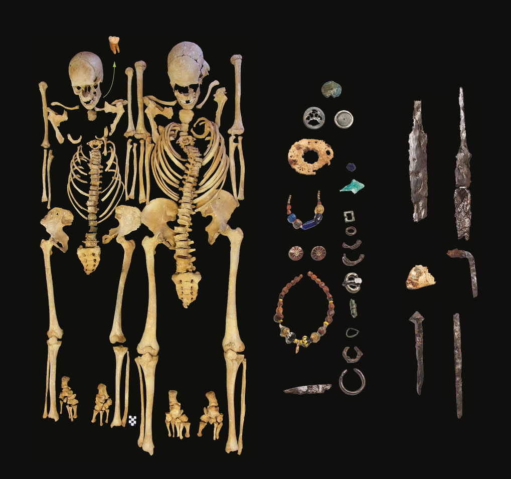 Adult woman and adult man. Plague victims, which were excavated at Altenerding-Klettham and found positive for presence of Y.pestis and grave goods (not shown true to scale) typical of the middle of the 6th century.