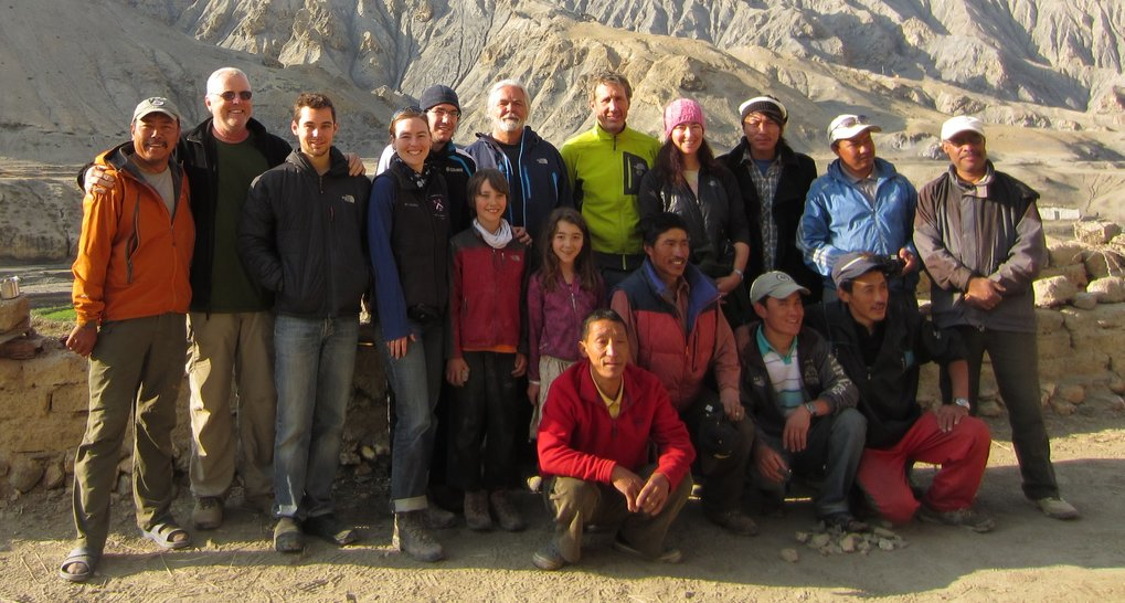 Group photo of the 2012 expedition to Samdzong, Nepal. The team included archaeologists, geneticists, professional mountain climbers, expert guides, porters, journalists, and a medical doctor.