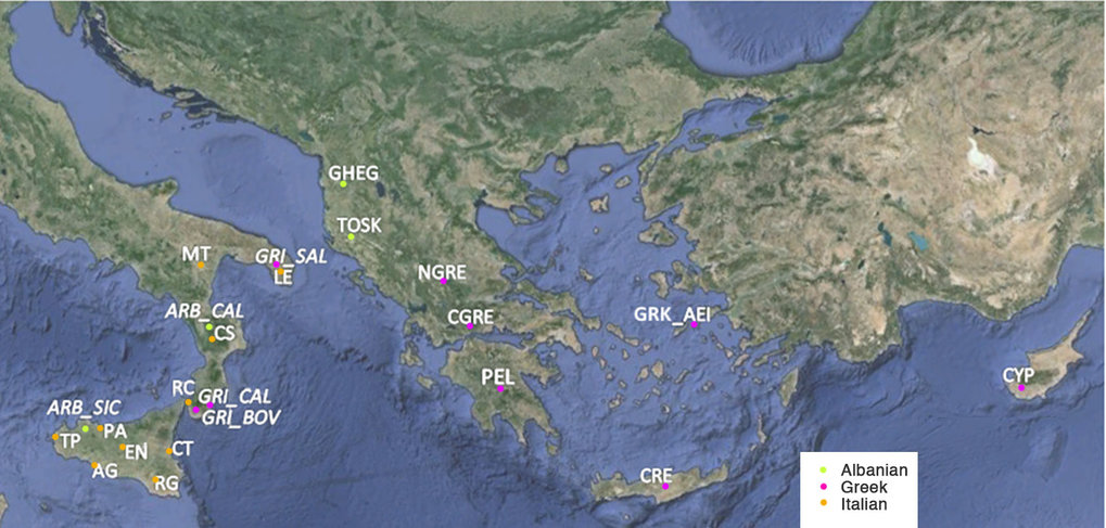 Map of the sampling locations included in the study, with presence of Albanian, Greek or Italian languages.