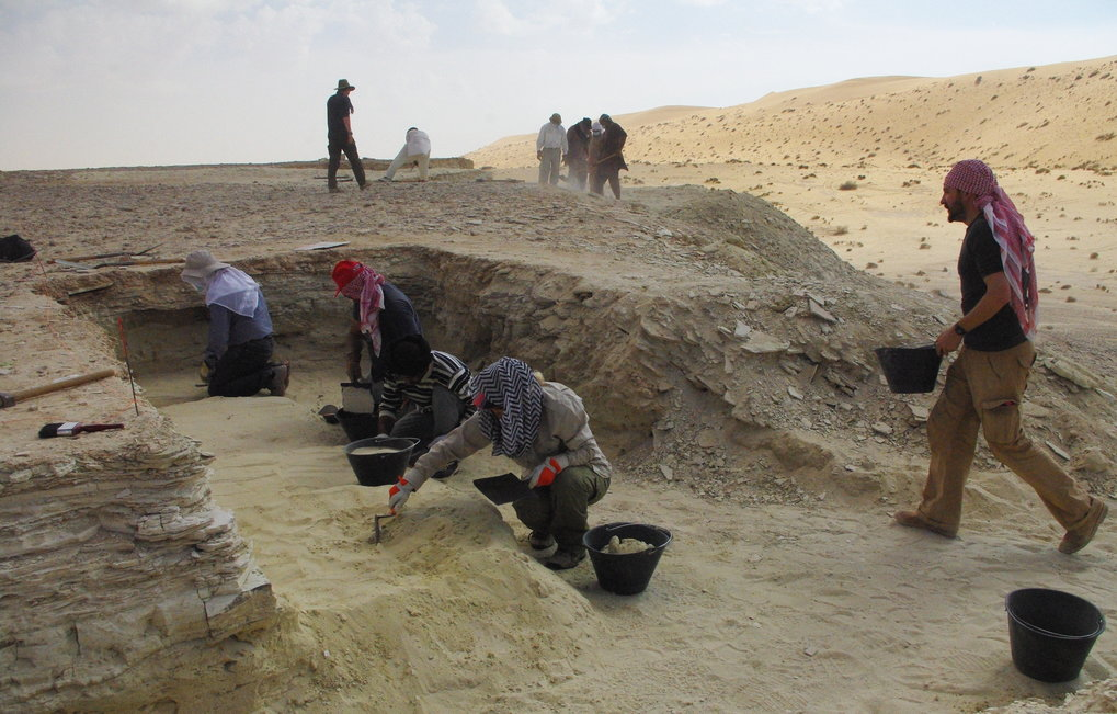 Excavations along ancient lake shorelines in Saudi Arabia. New excavations will examine past environments and assess when early human populations migrated across Arabia.