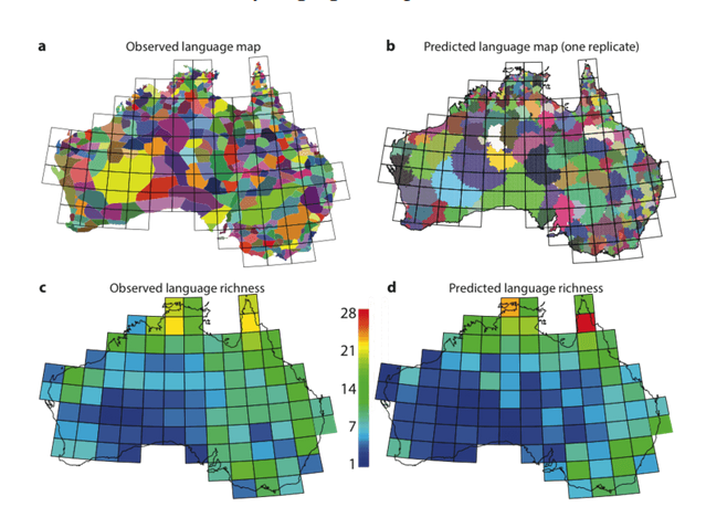 "<span class=""caption"">A simulation model based on a few simple processes predicts much of the geographic variation in language diversity in Australia.</span>"
