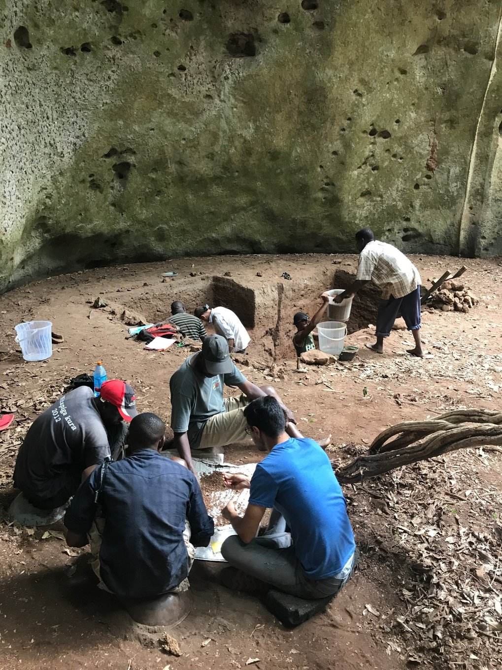 Another view of the joint Max Planck Institute for the Science of Human History and National Museums of Kenya excavations at Panga ya Saidi cave in Kenya.
