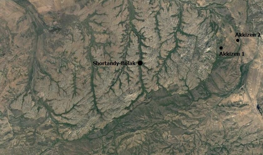 Google satellite map of the location of sites in central Kazakhstan.