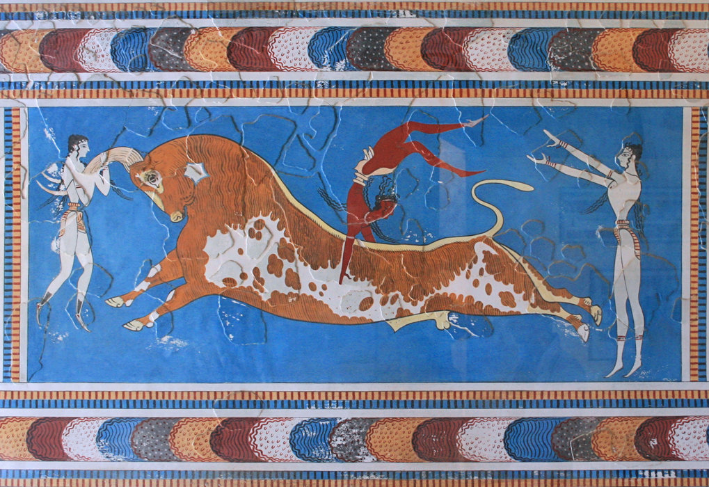 The Bull-Leaping-Fresco from the Great Palace at Knossos, Crete. (The original is located at Heraklion Archaeological Museum, Heraklion, Crete).