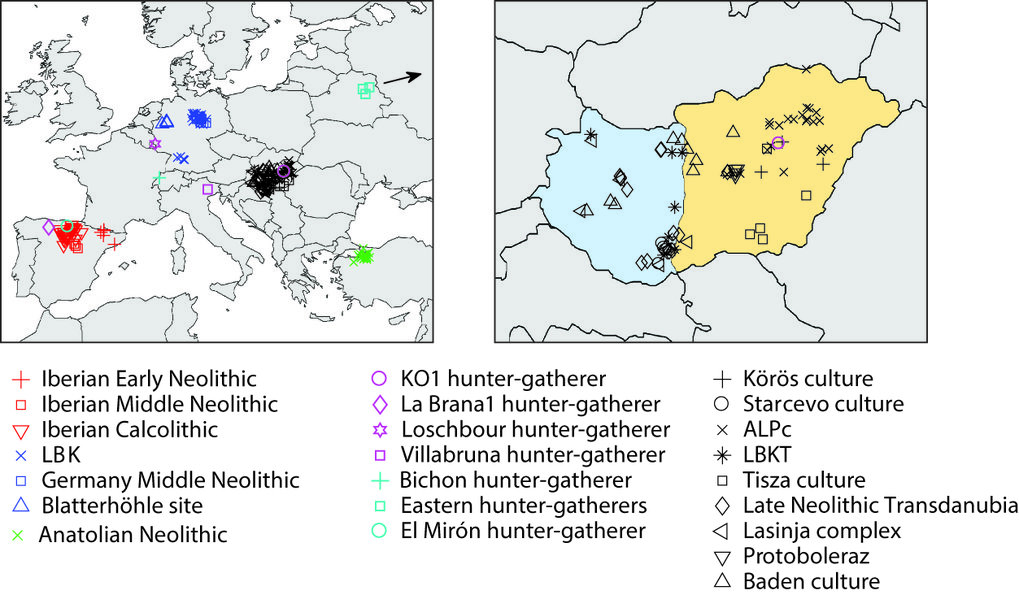 Geographic locations of the samples analyzed in this study with a close-up of Hungary (based on figure 1a-b from <em>Nature</em>, Lipson/Szécsényi-Nagy et al. 2017, http://dx.doi.org/10.1038/nature24476).