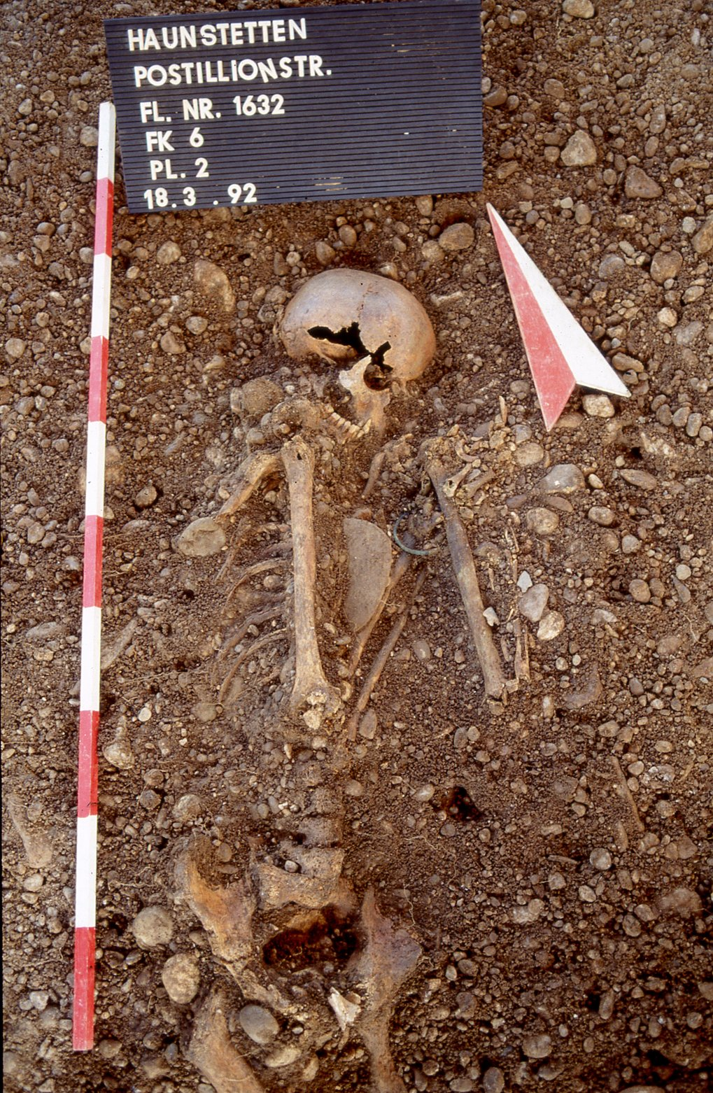 A male individual (6Post) from the Haunstetten Postillionstraße site, with a dagger, flint arrow heads, bracelet and bone pin.