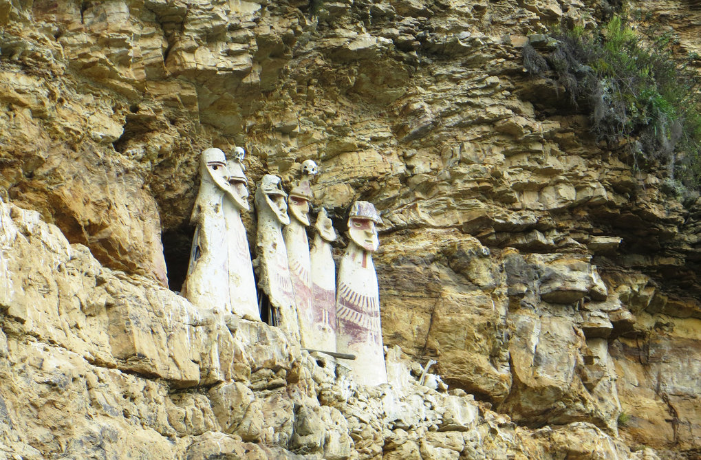 <p>The body-shaped sarcophagi of Karajía contained the remains of high-ranking Chachapoya ancestors. The inhabitants of Chachapoyas today may in part descend from these pre-Inca populations.</p>