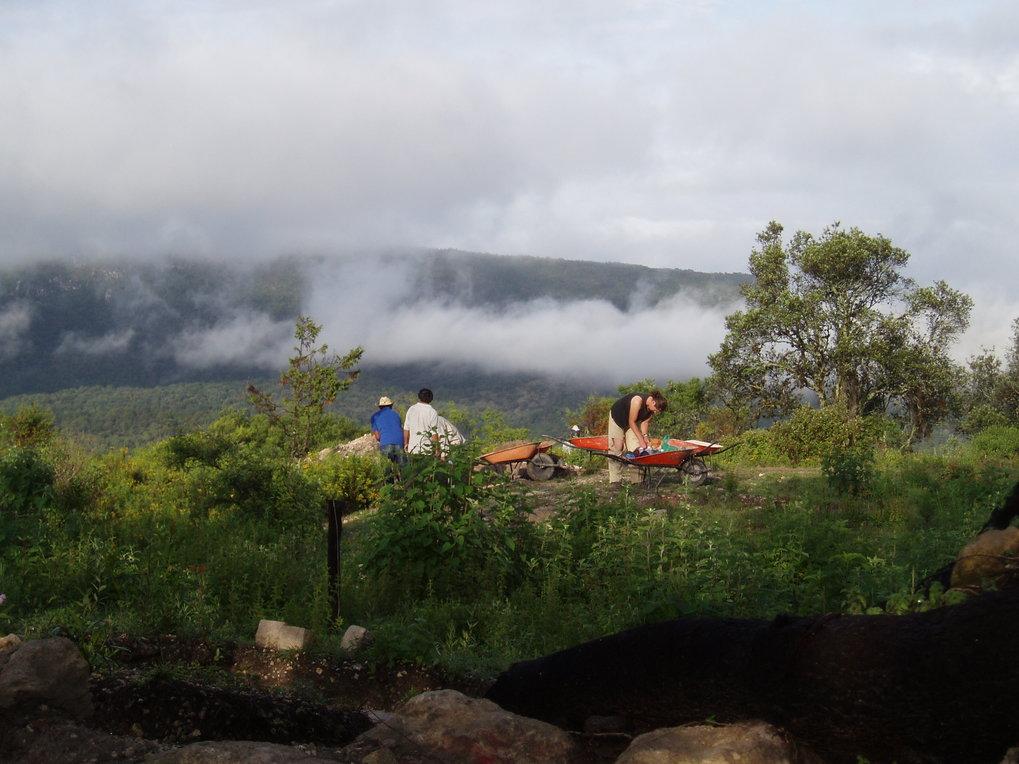 Archäologische Ausgrabungen an der Grabungsstätte Teposcolula-Yucundaa, einem wichtigen politischen Zentrum der alten Mixteken. Nach der Epidemie wurde die Siedlung ins Tal verlegt und der Standort auf der Spitze des Berges wurde aufgegeben.