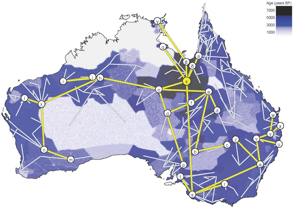 Geographical dispersal of Pama–Nyungan languages - The blue shading indicates time depth - darker colours indicate earlier inferred dates. Letters indicate where the main Pama-Nyungan subgroups are inferred to have emerged. Yellow lines show the inferred relationships between the main subgroups.