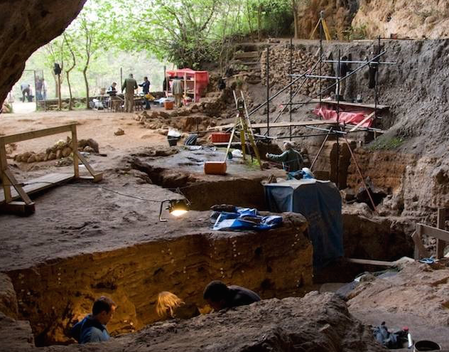 Archaeological excavations at Grotte des Pigeons at Taforalt in the east of Moroco.