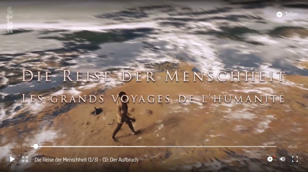 """Die Reise der Menschheit"" (The Journey of Humanity) featuring directors Russell Gray and Johannes Krause.ARTE, aired 21 April 2018."