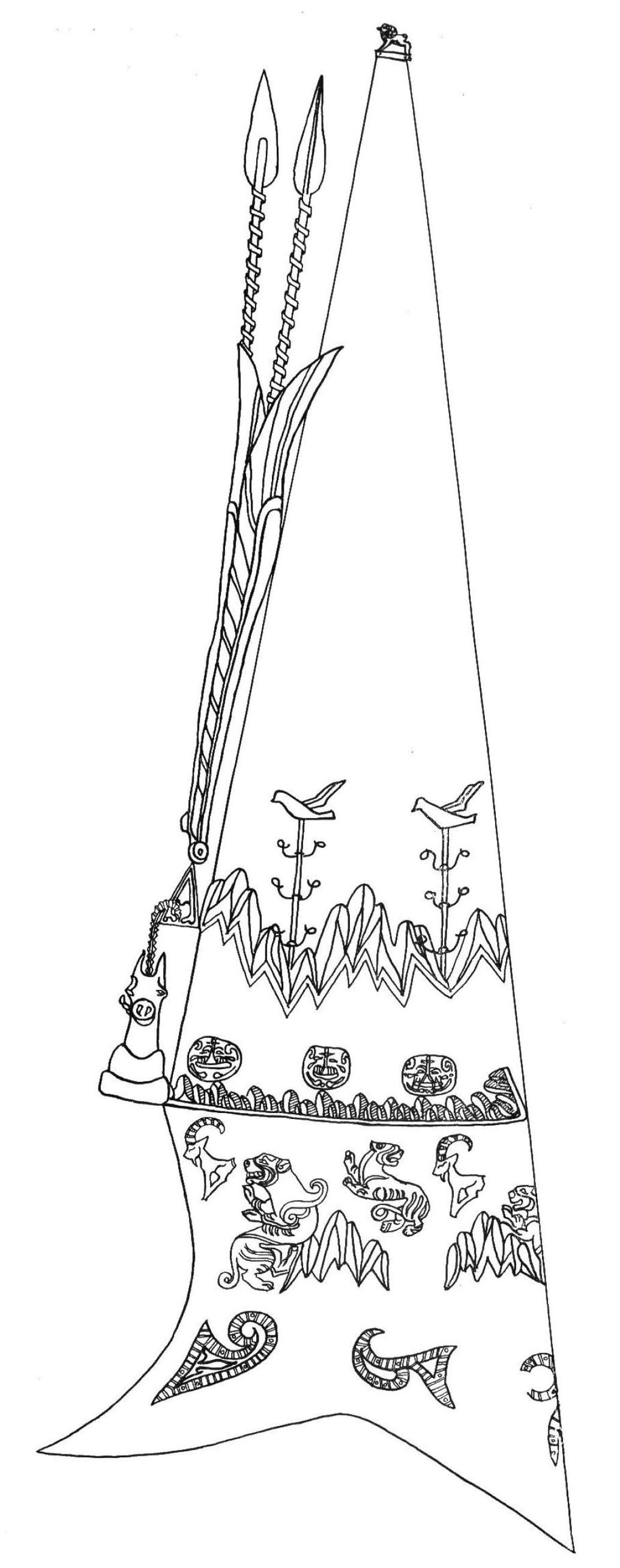 Drawing of the hat of the Golden Man depicting plants growing in mountain valleys.