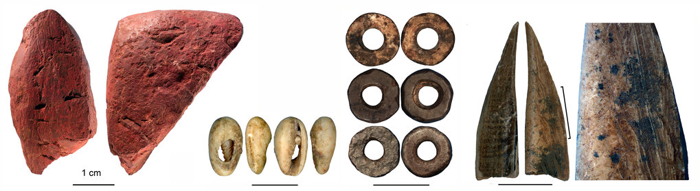 Worked artefacts from Panga ya Saidi cave (from left to right): worked red ochre; bead made of a sea shell; ostrich eggshell beads; bone tool; close-up of the bone tool showing traces of scraping.