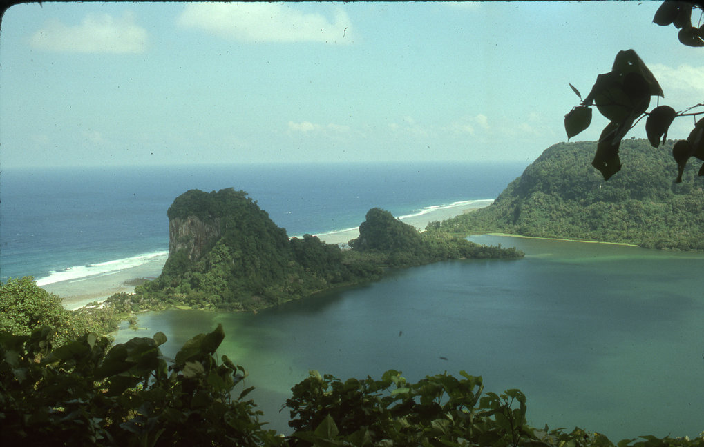 View of Tikopia Island with its crater lake, from the peak of Mt. Reani.