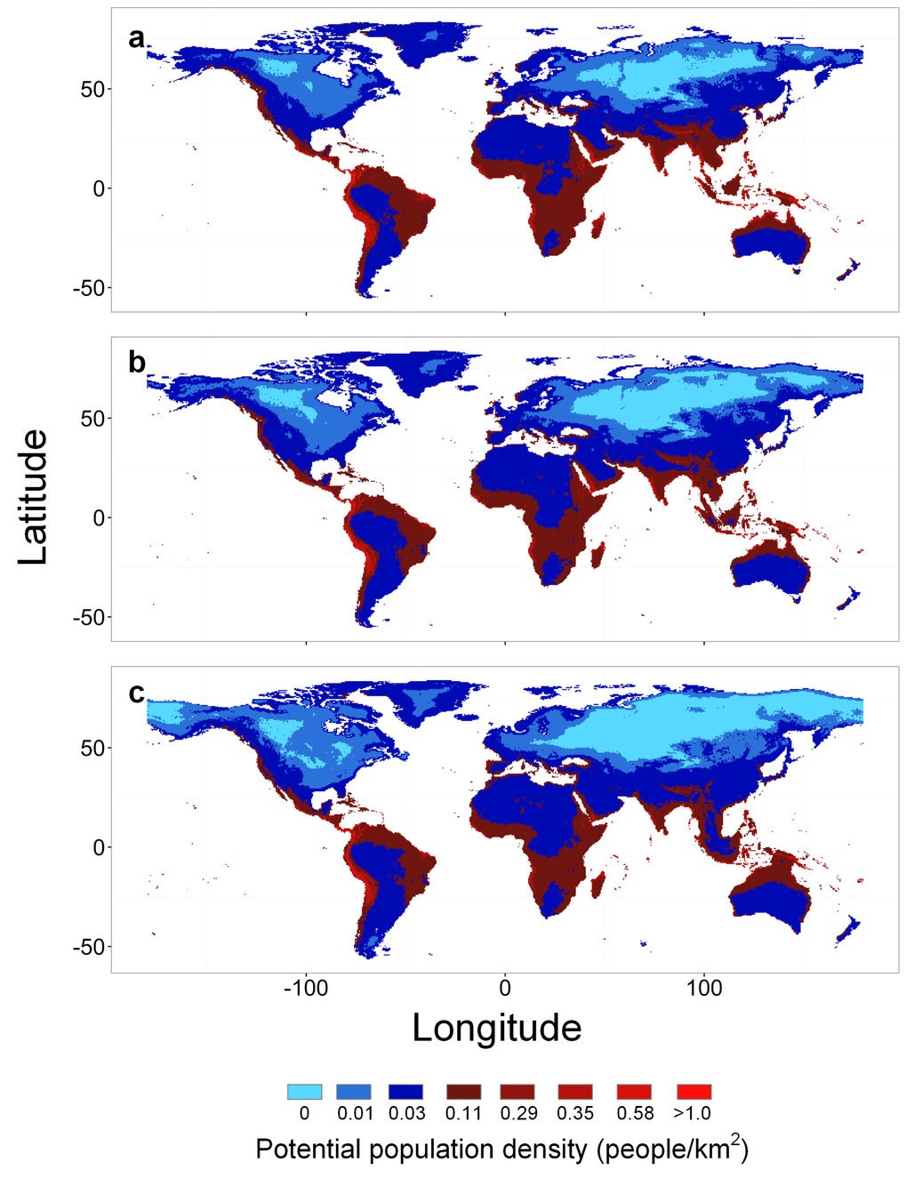 Predictions of potential population density for foragers at (a) 4,000 YBP, (b) 10,000 YBP, and (c) 21,000 YBP. Blue hues depict potential population densities below the median population density of observed foraging societies and red hues depict potential population densities above the median.