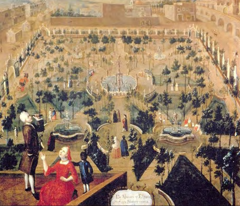 Painting of the Convent of Santa Isabel, in Mexico City, painted in the 18th century (author unknown). The building is now home to the Palace of Fine Arts. In the foreground of the painting, a family is pictured on the roof of the convent.