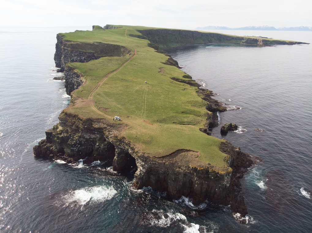 Drone shot of Grimsey at the Arctic Circle one both the field sites of the project.